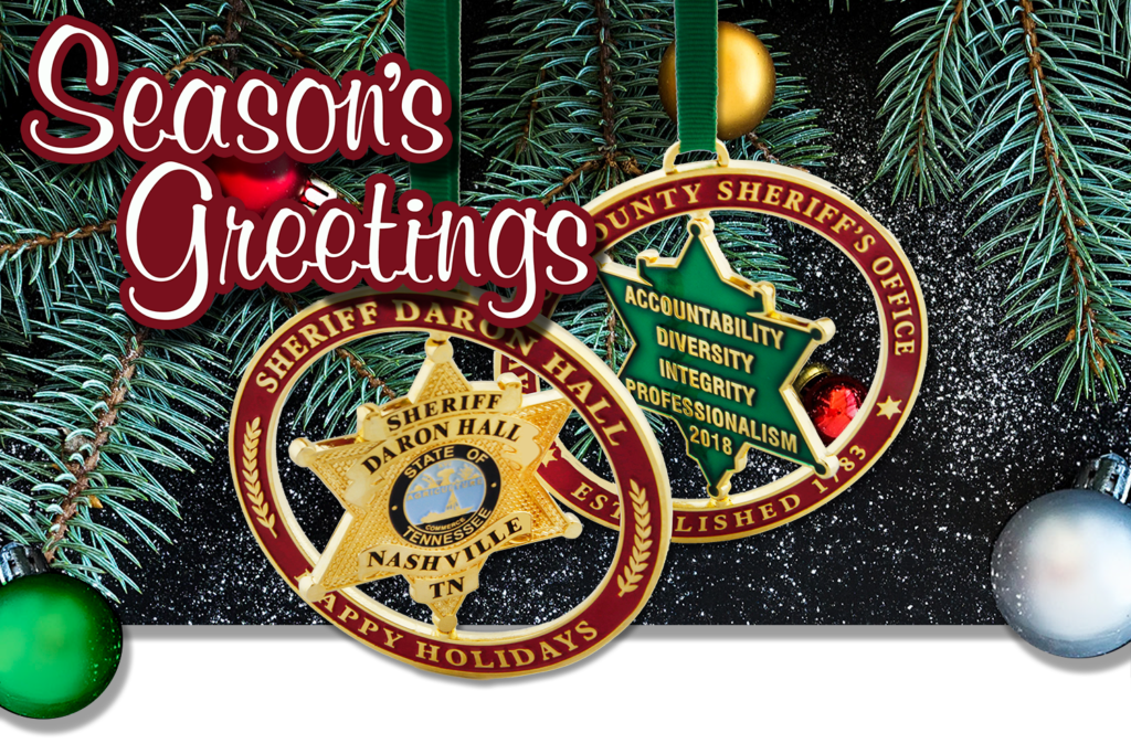 Season's Greetings with image of Custom Christmas Ornaments that spin.